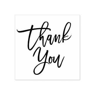 Hand Lettered Thank You Script Rubber Stamp