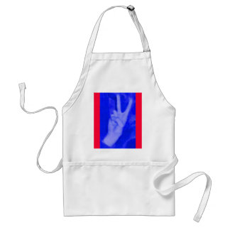 Hand of Peace-Blue on Red Adult Apron