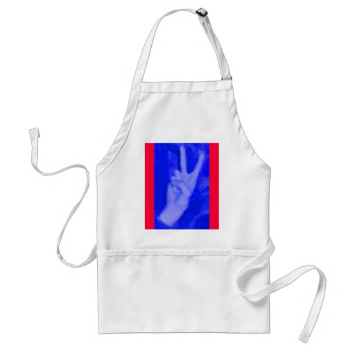 Hand of Peace-Blue on Red Aprons