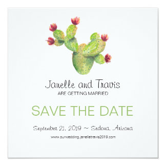 Hand painted Cactus Wedding Save the Date 13 Cm X 13 Cm Square Invitation Card