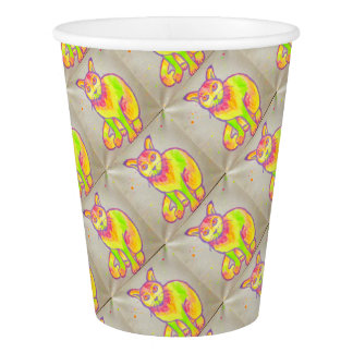 Hand Painted Neon Cat Paper Cup
