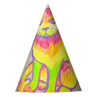 Hand Painted Neon Cat Party Hat