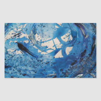 Hand painted tumbling surf wave with silvery fish rectangular sticker