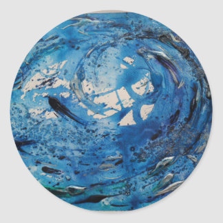 Hand painted tumbling surf wave with silvery fish round sticker