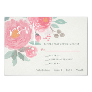 Hand painted watercolor floral wedding RSVP card