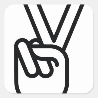 Hand Peace Sign Square Sticker