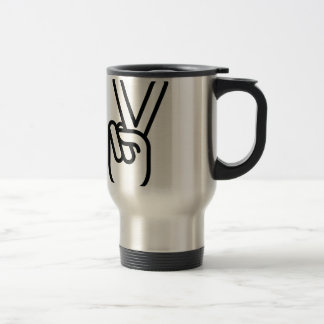 Hand Peace Sign Stainless Steel Travel Mug