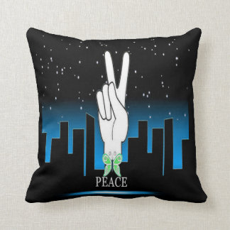 Hand Peace Symbol with a City Background Pillows