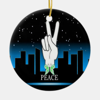Hand Peace Symbol with a City Background Round Ceramic Decoration