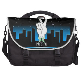 Hand Peace Symbol with a City Background Laptop Computer Bag