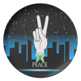 Hand Peace Symbol with a City Background Dinner Plates