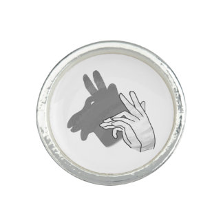 Hand Silhouette Billy Goat Gray Ring
