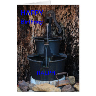 HAND WATER PUMP in a Hollow Tree BIRTHDAY CARD