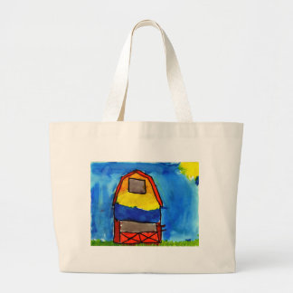 Handbag, tote, illuminated with barn scene large tote bag