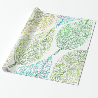 Handdrawn modern green floral paisley leaf pattern wrapping paper