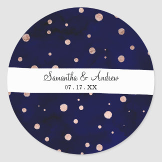 Handdrawn navy blue watercolor rose gold confetti classic round sticker