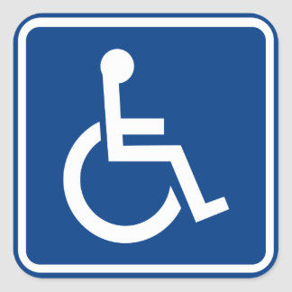 Handicapped Wheelchair Accessible Sign Square Sticker
