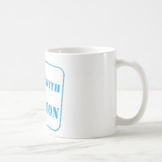 Handle with caution blue coffee mugs