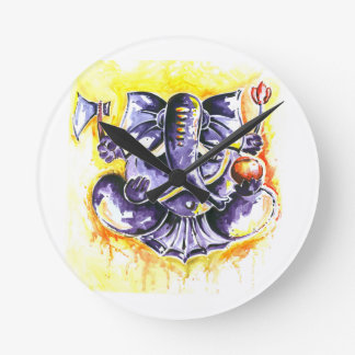 Handmade Abstract Painting of Lord Ganesha Round Clock