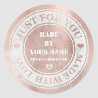 Handmade Just For You Made With Love Blush Round Sticker