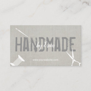 Diy craft business cards zazzle nz handmade sewing crafts elegant silver linen business card reheart Image collections