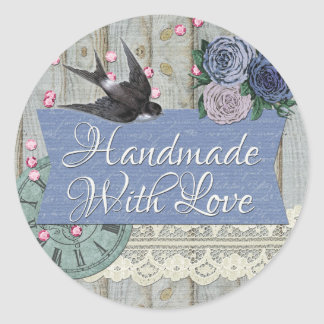 Handmade With Love Boutique Product Packaging Round Sticker