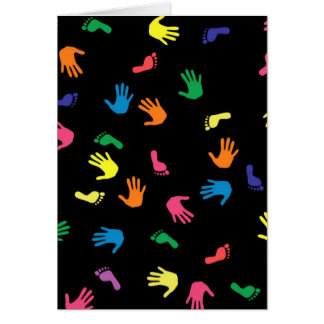 Handprint footprint multicolored card