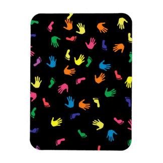 Handprint footprint multicolored rectangular photo magnet