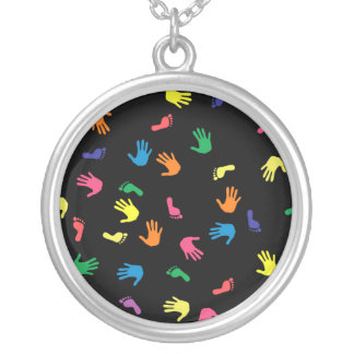 Handprint footprint multicolored silver plated necklace