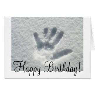 Handprint in the Snow; Happy Birthday Card