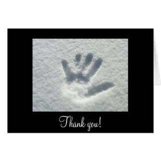 Handprint in the Snow; Thank You Card
