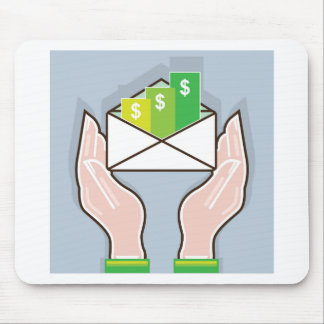 Hands giving receiving checks inside an envelope mouse pad