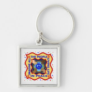 Hands of Peace Silver-Colored Square Key Ring