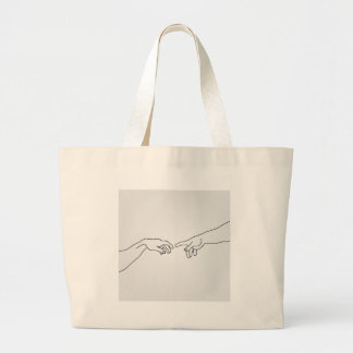 Hands showing the creation of Adam Large Tote Bag