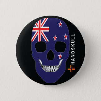 HANDSKULL New Zealand,Happy skull,New Zealand flag 6 Cm Round Badge