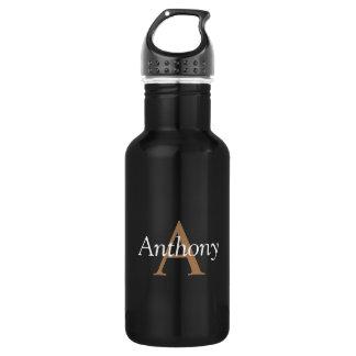 Handsome Black Modern Gold Monogram Trendy Initial 532 Ml Water Bottle