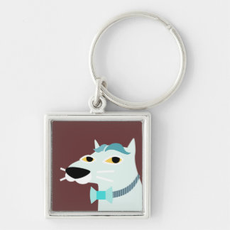 Handsome Cat with Bowtie Silver-Colored Square Key Ring