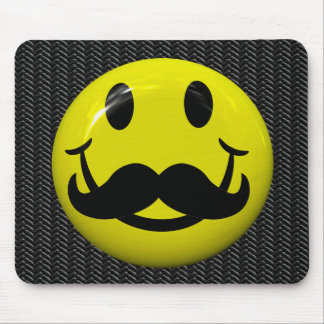 Handsome Smiley Face With Moustache Mousepad Mouse Pads