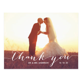 Handwriting 2 Photo Wedding Thank You Postcard
