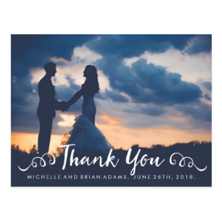 Handwritten Cursive Wedding Photo Thank You Card