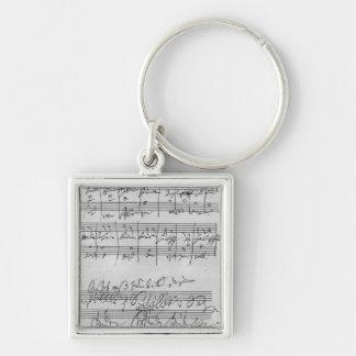Handwritten musical score key ring