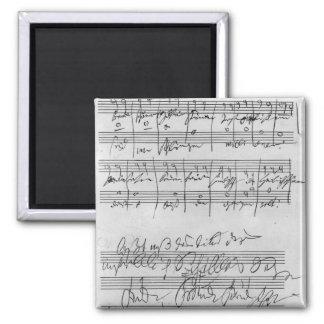 Handwritten musical score magnet