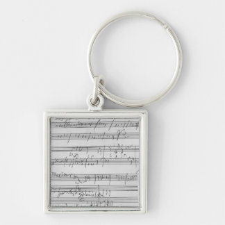 Handwritten musical score Silver-Colored square key ring
