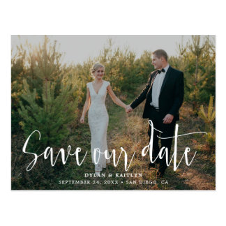 Handwritten Script | Photo Save Our Date Postcard