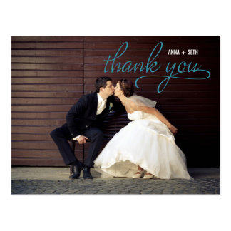 HANDWRITTEN Thank You Postcard - Blue