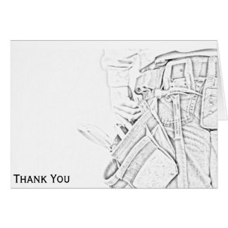 Handyman Sketch in Black and White Business Note Card