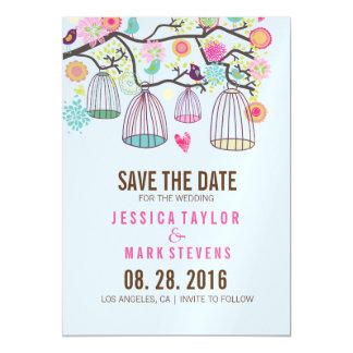Hanging Bird Cages & Retro Flowers Magnetic Invitations
