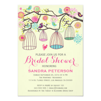 Hanging Bird Cages & Retro Flowers Wedding Sticker 5x7 Paper Invitation Card