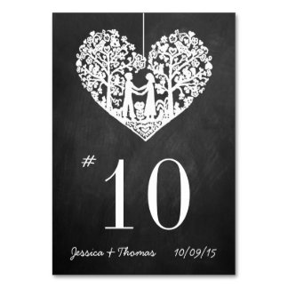 Hanging Heart Tree Chalkboard Wedding Table Number Table Cards