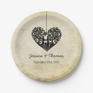 Hanging Heart Tree Vintage Wedding Collection 7 Inch Paper Plate